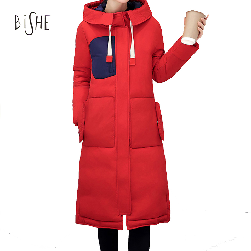 ФОТО 2017 New Fashion Long Parkas For Women Winter Slim Female Coat Thicken Parka Cotton Clothing Black Clothing With Hooded