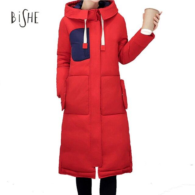 2017 nueva moda largo parkas para las mujeres de invierno delgada capa femenina espesar parka abajo cotton clothing clothing negro con capucha