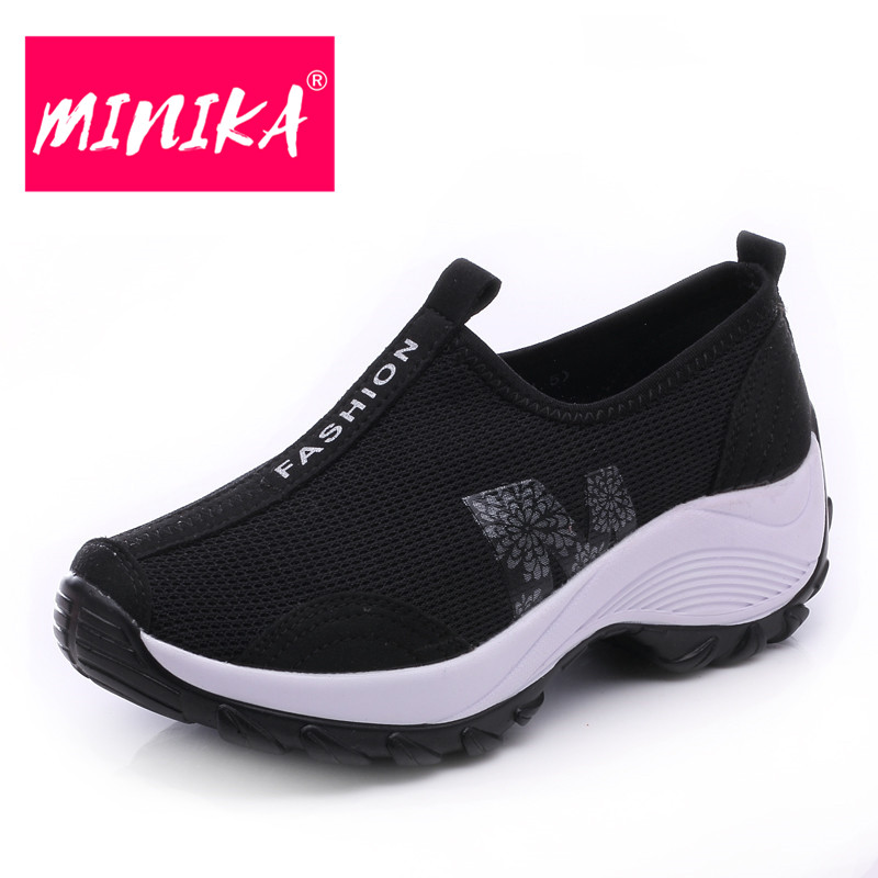MINIKA Solid Colors Casual Shoes Women Slip On Flat Shoes Women Shallow Mesh Shoes Durable Rubber Outsole Women Platform Shoes minika new arrival 2017 casual shoes women multicolor optional comfortable women flat shoes fashion patchwork platform shoes