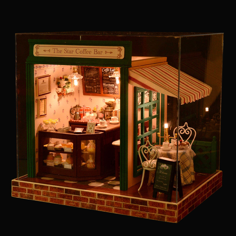 DIY Handmade Dollhouse The Star Coffee Bear with Music LED Light Relax Shop Assembling Miniature House with Furnitures Kids Toys 2