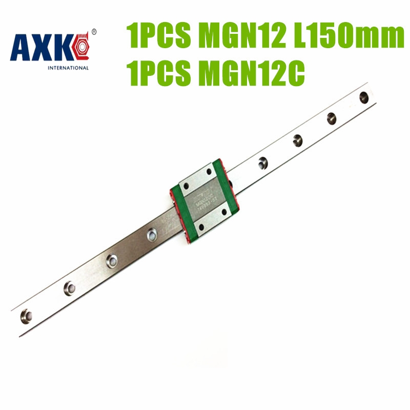 AXK low price linear rail guide MGN12 150mm linear Guides+ a MGN12C block for cnc machine made in china linear bearings guides cpc linear guide linear guide unit