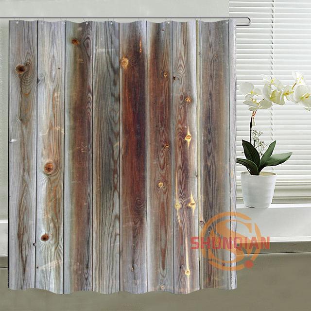 Classical Custom Shower Curtain Old Wood Bath Curtain Mondern