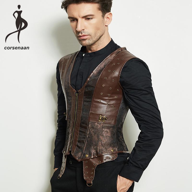 Front Zipper Brown Men's Waistcoat Steampunk Jacket Faux Leather Steel Boned Corset Shapewear Vest 941#