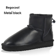 Begocool Brand Hot Sale Women Snow Boots 100% Genuine Cowhide Leather Ankle Boots Warm Winter Boots Woman Shoes Size 4-13
