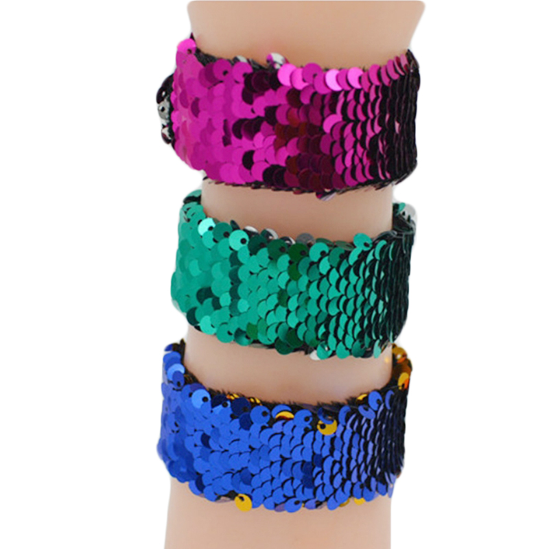 Magic Bracelet Double Color Sequin Slap Bracelet Simple Fashion Magic Trick Kid Party Girl Hair Accessories Wristband Xmas Gift in Magic Tricks from Toys Hobbies