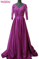 2017 New Vestidos De Festa Vintage Purple Long Evening Dresses V Neck Satin Mother Of The
