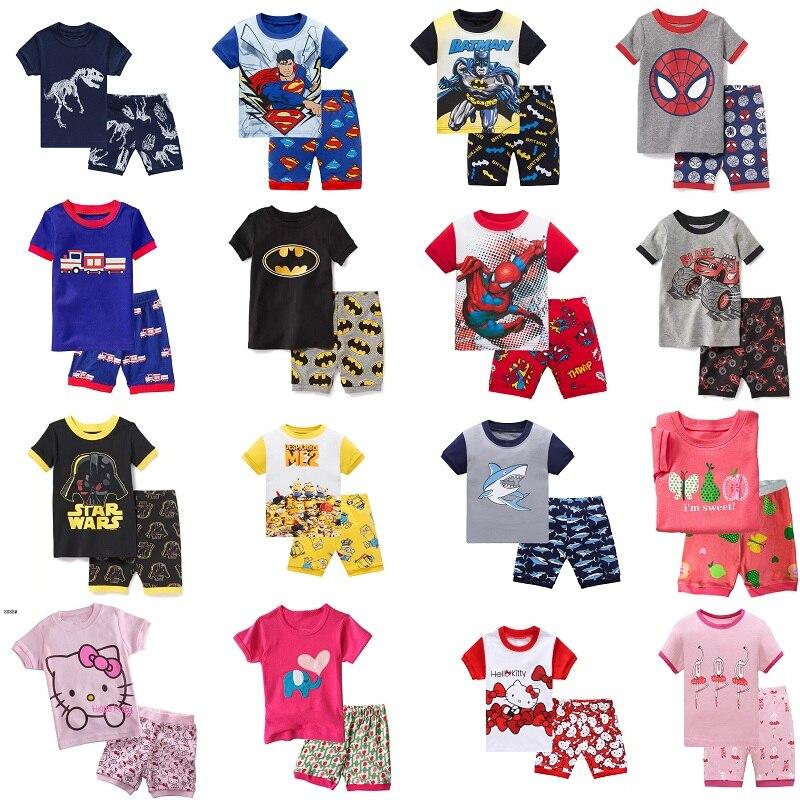 2018 горячие летние дети пижамы одежда для маленьких девочек и мальчиков костюм с рисунк ...
