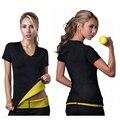 Mujeres Shapers Hot Set T-shirt Chaleco Tops Super Neopreno Que Adelgaza Faja de Control Pantalones CP044A