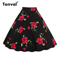 d8c048940ce769 Tonval Floral Vintage Plus Size Swing Skirt Retro Flowers Print Midi Skirts  Womens High Waist Cotton