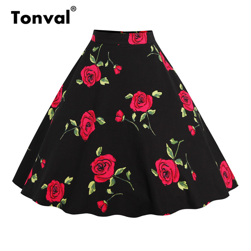 Tonval Floral Vintage Plus Size Swing Skirt Retro Flowers Print Midi Skirts Womens High Waist Cotton A Line Skirt