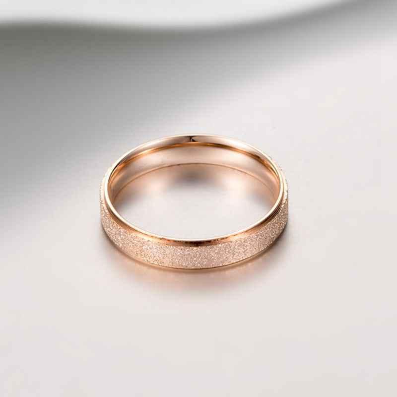 عالية الجودة موضة بسيطة فرك الفولاذ المقاوم للصدأ المرأة خواتم 4 مللي متر العرض ارتفع الذهب اللون فنجر هدية لفتاة مجوهرات
