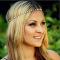 2016 newest Boho Women Pearl Bead Gold Metal Chain Head Jewelry Headband Headpiece Hair Band-J117