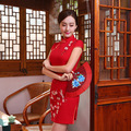 Red Plum Flowers Cheongsam Women Winter Chinese Traditional Dress Mandarin Collar Vintage Dresses Handmade Embroidery Qipao