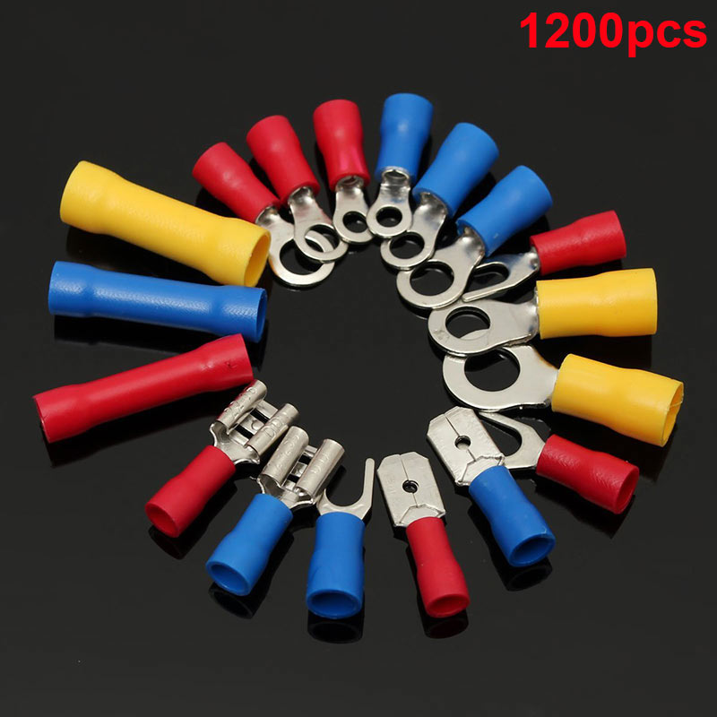 1200 Pcs Mixed Assorted Lug Kit Insulated Electrical Wire Connector Crimp Terminal Spade Ring Set --M25 mayitr 480pcs set electrical wire assorted crimp terminal insulated terminal connector butt spade ring set kit red yellow blue