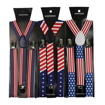 Fashion Shirt Suspenders 3 Clips Y-Shape Adjustable  Braces American Flag Stars And Stripes Suspenders  Men Womens Suspenders