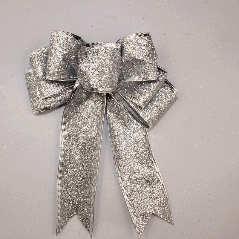 3 Color Grande Rojo Plata Oro Brillante Glitter Cinta de Navidad Arco - Para fiestas y celebraciones - foto 4