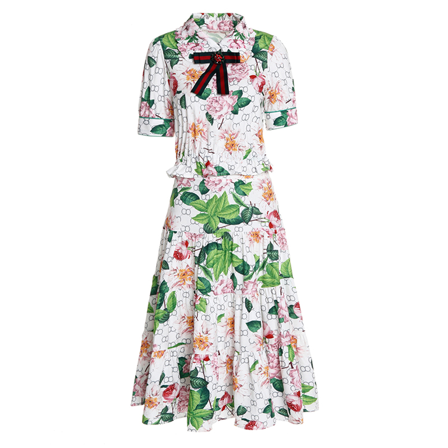 À Courtes sets Costume Spéciale Fleurs Mince Mode Twin Jupe Ruffleed Top 2019 Impression Manches Photo D'été As Offre Européenne Pulls Dames cq0Utwzpq
