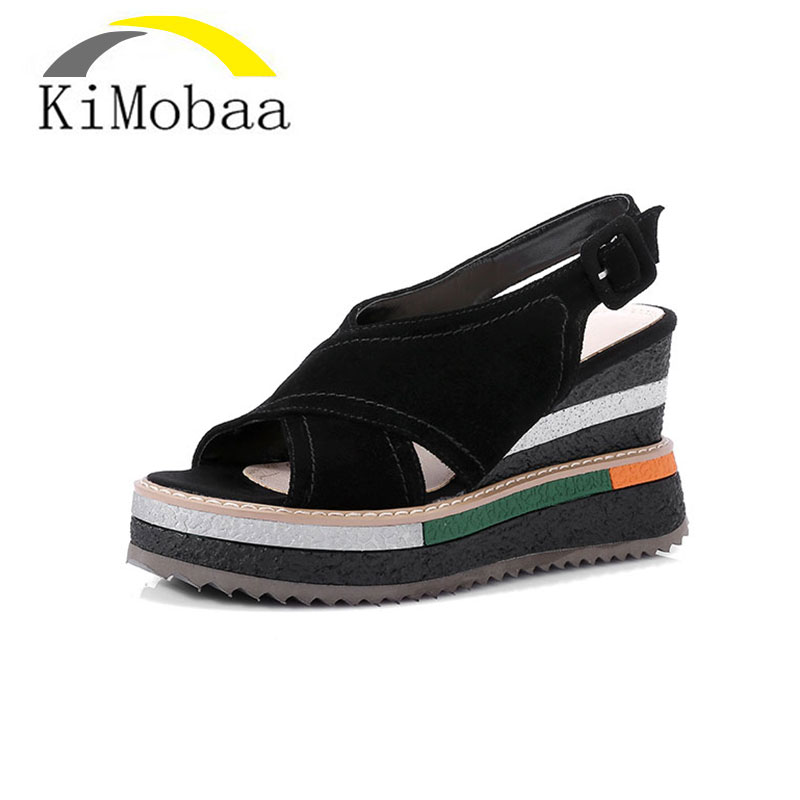 Kimobaa Fashion Sandals woman Cow Suede Platform Wedges High Heels Summer Party Shoes 2017 New Russia Sandals footwear TX122 2017 suede gladiator sandals platform wedges summer creepers casual buckle shoes woman sexy fashion beige high heels k13w
