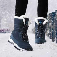 Plus Size 41 Winter Women Snow Boots 2017 Mid Calf Wedge Ladies Shoes Platform Mixed Colors