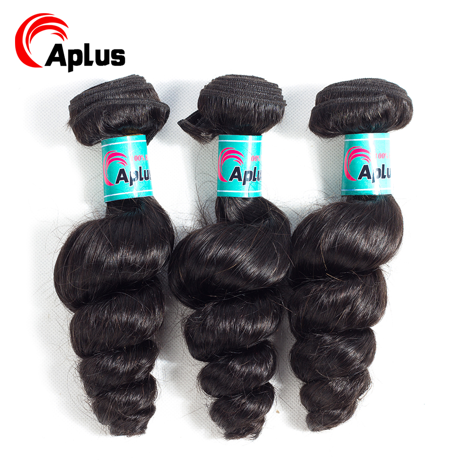 Loose Wave Hair Bundles Peruvian Hair Bundles 100% Human Hair Extensions Natural Color 3 Pieces Remy Hair Weave Can Be Dyed