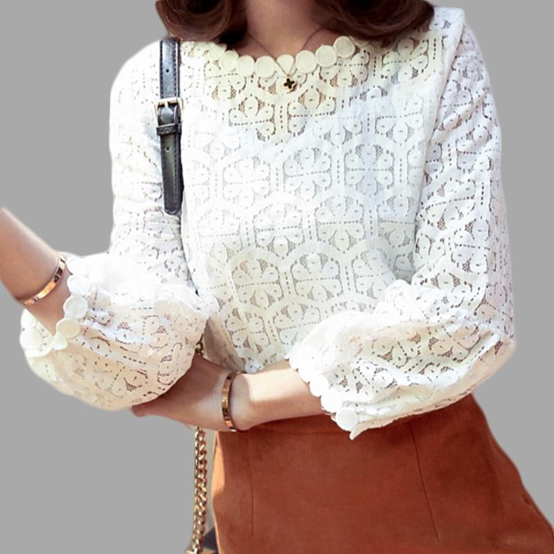 Bílé krajky s dlouhým rukávem pro ženy, nahoře, slim fit, - Dámské oblečení