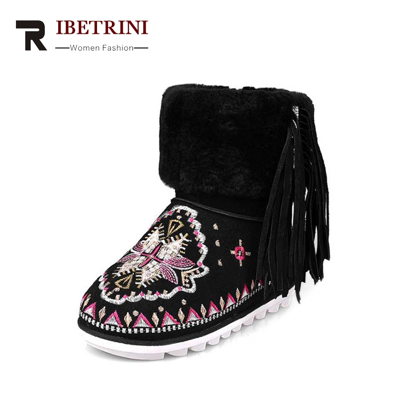 RIBETRINI 2018 Winter Fashion Cow Suede Embroider Ankle Snow Boots Tassel Med Wedges Women Shoes Size 34-39 ribetrini 2017 fashion cow suede turned over edge ankle snow boots sewing warm fur platform low flat women shoes size 34 39