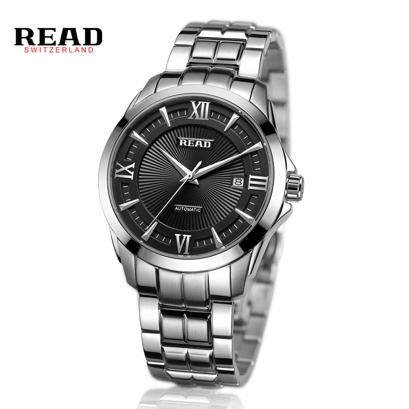 READ Relogio Masculino Automatic Mechanical Watches Luxury Famous Brand Skeleton Stainless Steel Sapphire Wrist Watch R8005G winner brand watches men mechanical skeleton wrist watches fashion casual automatic wind watch gold steel band relogio masculino