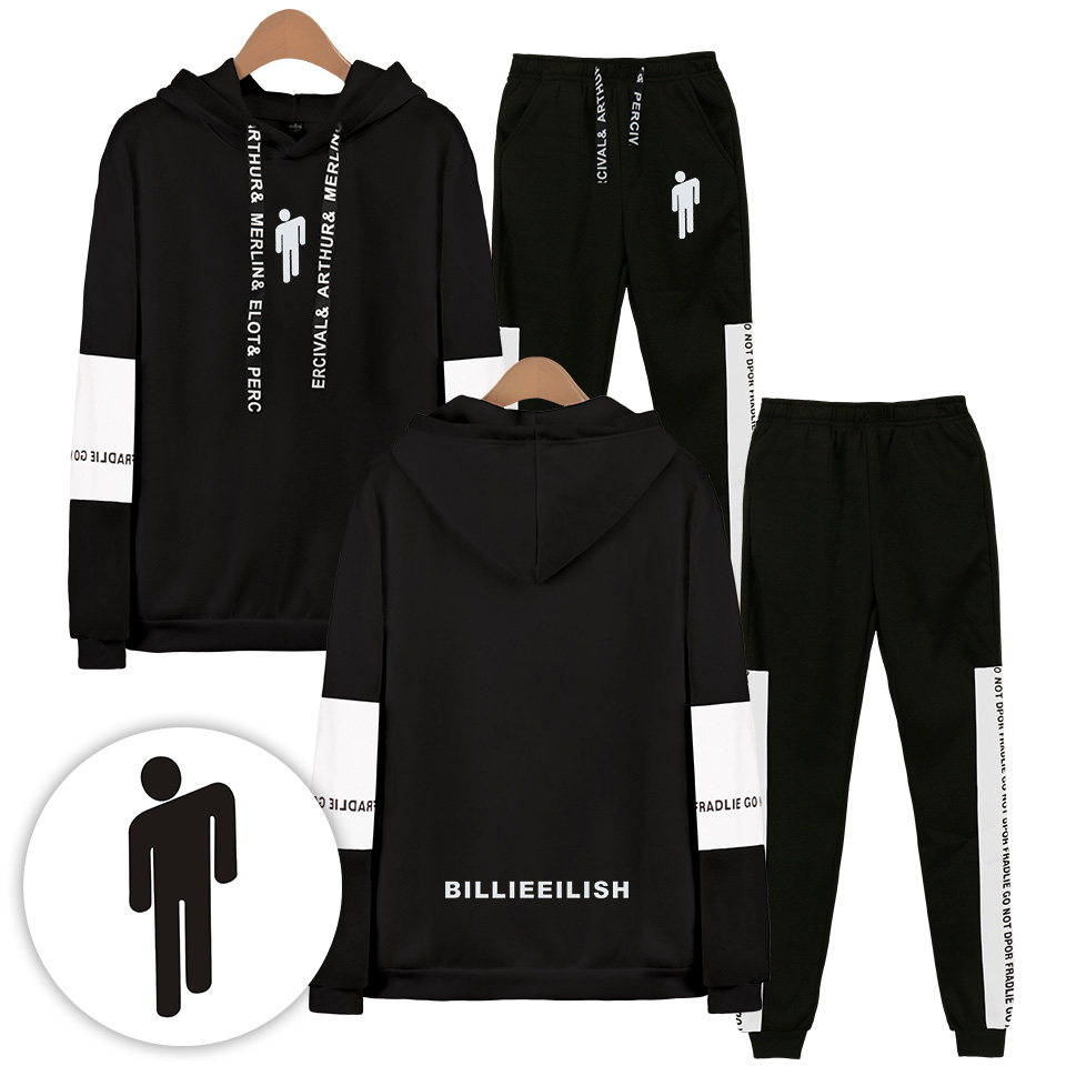 2019 Autumn/Winter Billie Eilish hot sale Hoodies Sweatshirts/Sweatpants Men Two Piece Set Hooded Suit Velvet 4XL