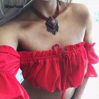 Heyouthoney Women Sexy Crop Tops Strapless Summer Lantern Sleeve Sexy Beach Tops Plus Size Red Black