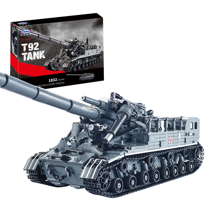 IN STOCK XingBao 06001 Block 1389Pcs Creative MOC Military Series The T92 Tank Set Education Building Blocks Bricks Toy 06001 [small particles] buoubuou creative puzzle toy toy bricks 30 16219 new military military series