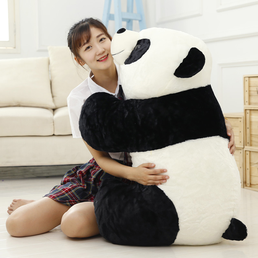 90Cm Giant Kawaii Plush Panda Bear Stuffed Animals Urso Soft Doll Toys For Chidlren Valentine Birthday Present Gift 50T0435 kawaii 140cm fashion stuffed plush doll giant teddy bear tie bear plush teddy doll soft gift for kids birthday toys brinquedos