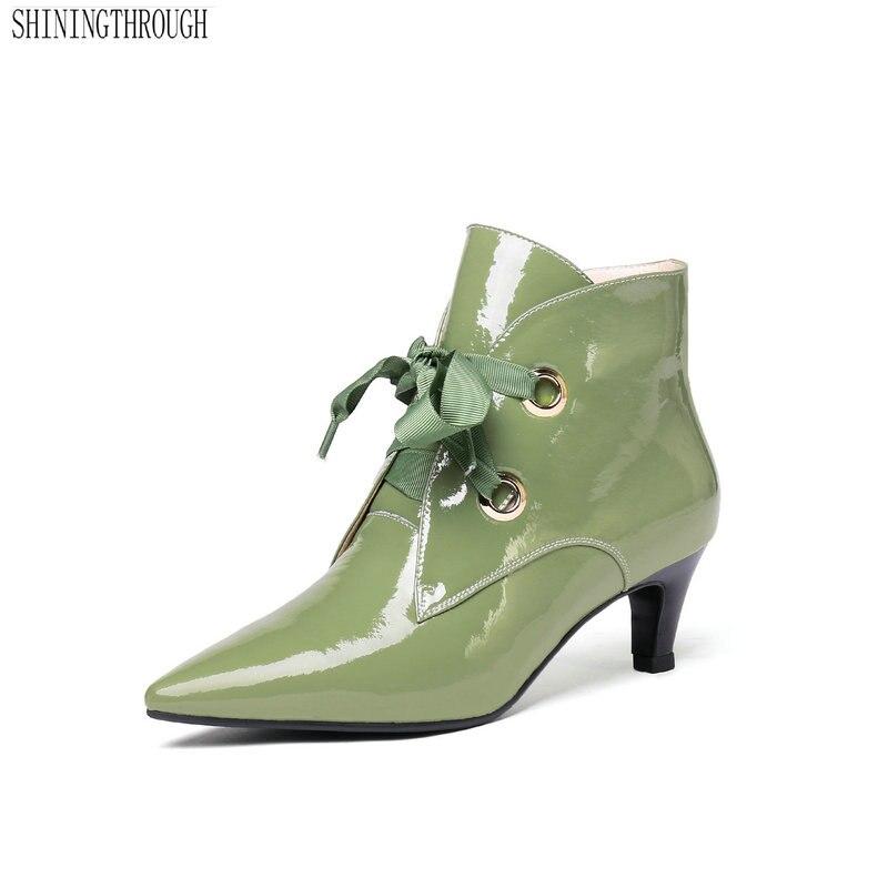 Ayakk.'ten Ayak Bileği Çizmeler'de Kadın yarım çizmeler Corss bağlı ince Topuklu hakiki deri Bayan Ayakkabı Kadın Sivri Burun Parti Pompaları Bayanlar 2019 Çizmeler'da  Grup 1