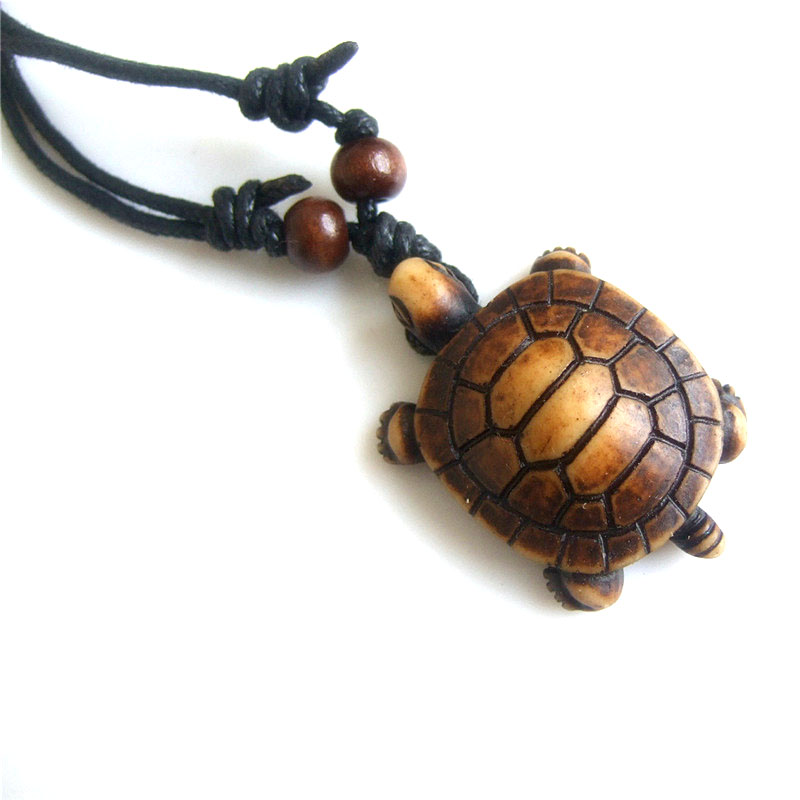 1pcs Fashion Necklace Imitation Yak Bone Carved Lucky Surfing Sea Turtles Pendants Necklace Adjustable Wax Cord 17-33''