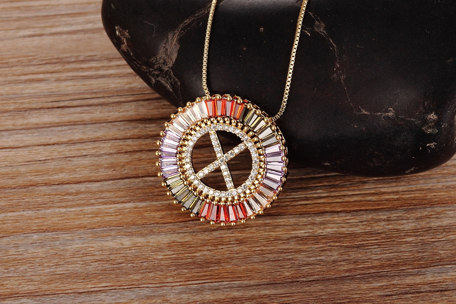 New Arrival Gold Color Micro Pave Rainbow CZ Cubic Zirconia A-Z Initials Letter Pendant Necklaces For Women Girls Fine Jewelry 2