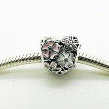 Perlas en Forma de corazón Para La Joyería Adapta A Pandora Charms Pulsera Poética Esmaltes y Claro CZ Beads Flores Mezcladas 2016 Primavera joyería