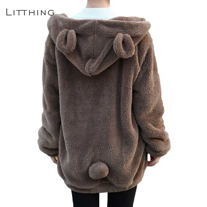 Litthing 2018 Girls Hoodies Zipper Woman Winter Free Fluffy Bear Ear Hoodie Hooded Jacket Heat Outerwear Coat Cute Sweatshirts