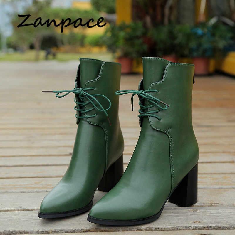 Botas de Punta puntiaguda para mujer de felpa verde tobillo mantener caliente botas de Invierno para mujer otoño tacón alto Metal cremallera de cuero botas de mujer
