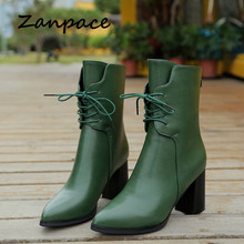 Pointed Toe Women's Boots Green Plush Ankle Keep Warm Winter Boots For Women Autumn High Heel Metal Zipper Leather Boots Women