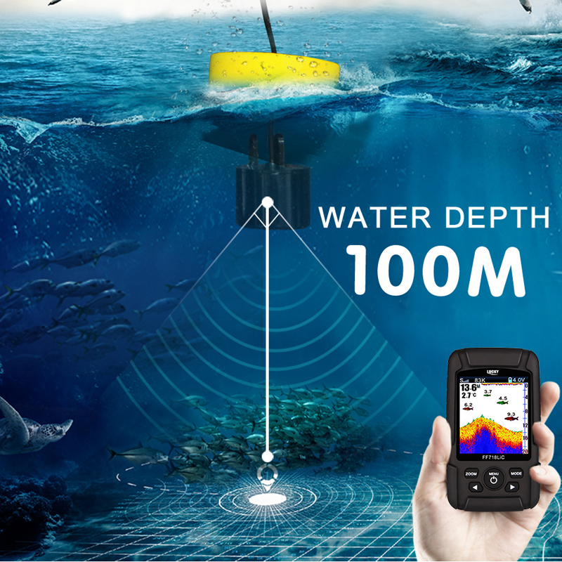 """Image 5 - LUCKY FF718LiCD 200KHz/83KHz 45 100M Dual Frequency 2 in 1 Fish Finder 2.8"""" Color LCD  Fishfinder Echo Sounder Sonar for Fishing-in Fish Finders from Sports & Entertainment"""