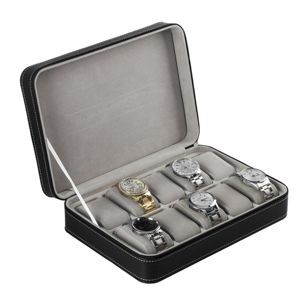 10 Grids Pu Leder Armband Männer Uhr Box Fall Mit Zipper Schmuck Schatulle Multifunktionale Display Veranstalter Paket Sammlung