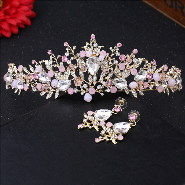 Gorgeous Pink Crystal Tiara For Women Wedding Hair Accessories Handmade Bride Crown And Earrings Gold Tiaras