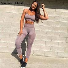 2 Pcs Women Yoga Set Gym Ombre Seamless Leggings+Cropped Shirts Workout Sport Suit Pants+Sports Bra Fitness Wear
