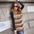 2016 новый зима теплая реального шуба енотовидная собака мех пальто толщиной верхняя одежда женская мода hot продажа натуральной кожи ткани жилет
