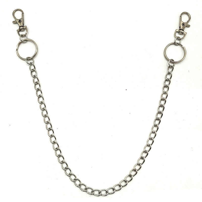 49cm Long Metal Keyring Keychain Silver Wallet Chain Hipster Pant Jean Key Chains Belt Ring Clip Men HipHop Jewelry
