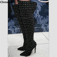 Newest Arrival High Quality Leather Pointed Toe High Heels Motorcycle Long Boots Rivets Decorated Over The