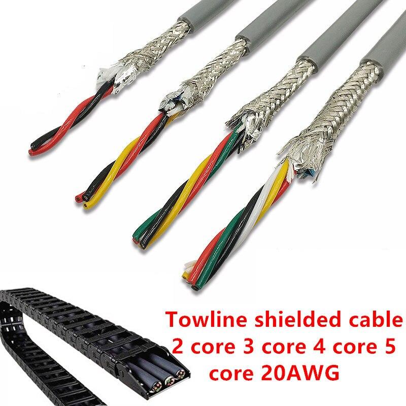 20AWG 2/4/5 ядро Towline экранированный кабель 5 м гибкий провод с ПВХ-изоляцией TRVVP устойчивость к изгибу коррозионно-стойкая медная проволока