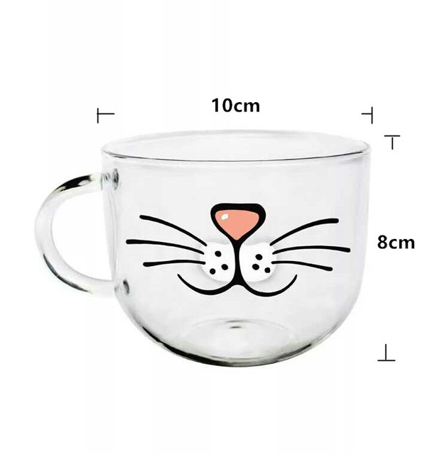 Cat's Face Designed Glass Cup