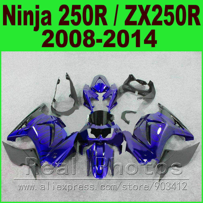 Dark blue Kawasaki Ninja 250r Fairings bod kit 2008 2009 2010 2011 2012 2013 2014 EX250 ZX 250 fairing kits parts R4T6 rendell r dark corners