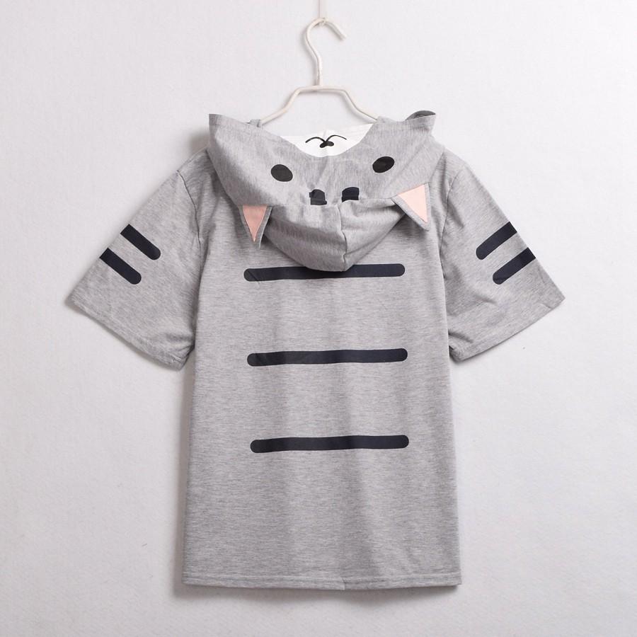 Cat Pattern Ears Hooded Shirt (3)