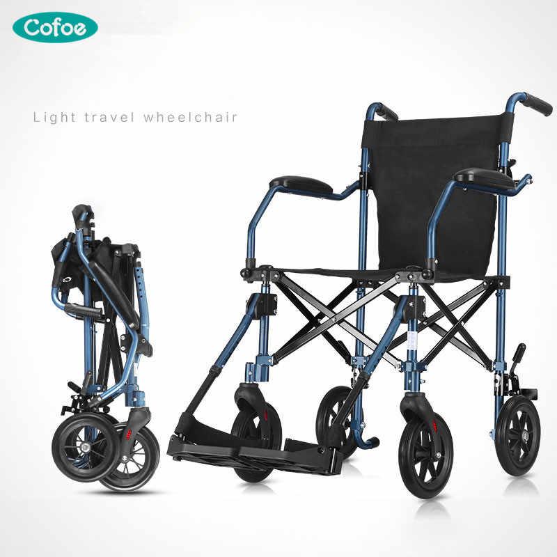 Cofoe כיסא גלגלים מתקפל תחבורה גלגל כיסא אלומיניום קל משקל נכים מרכבת אור Handiness Brougham לנכים